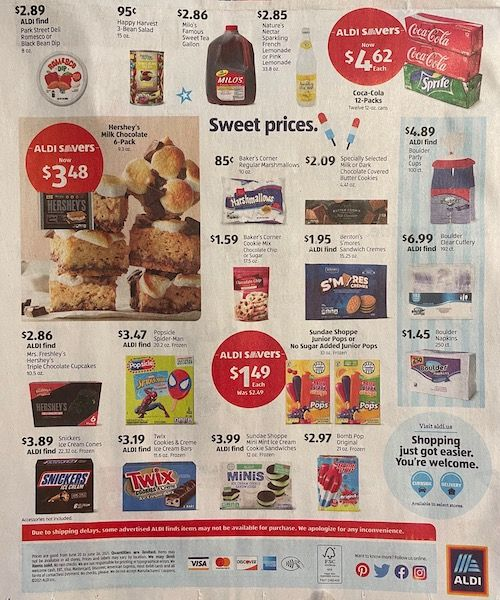 The bottom half of the back of the Aldi Sales Flyer for the week of June 20