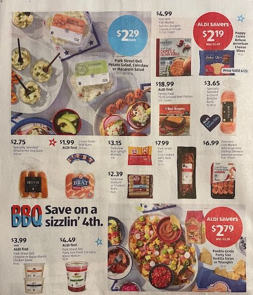 The top half of the back of the Aldi Sales Flyer for the week of June 20