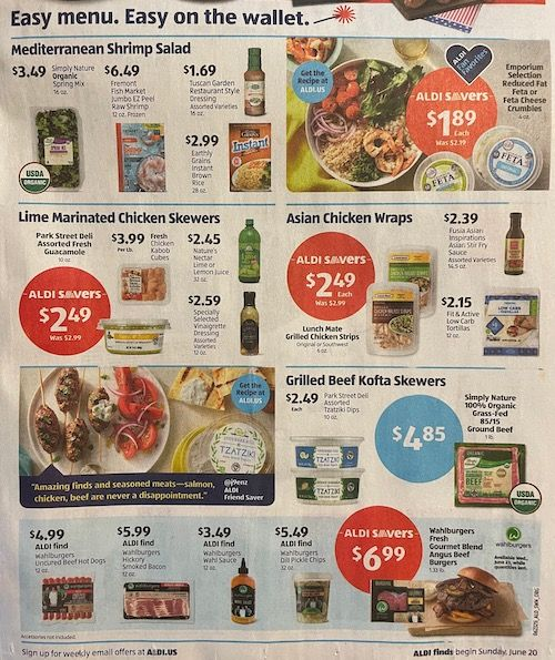 Front bottom half of the Aldi Sales Flyer for the week of June 20