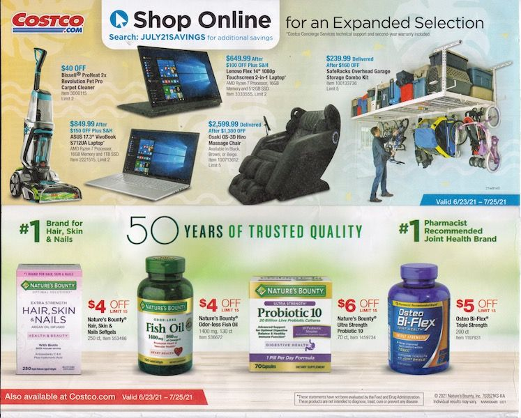 Costco ad with shop online feature and more