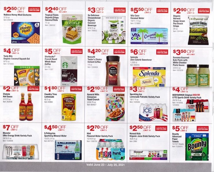 Costco ad with juice boxes and more