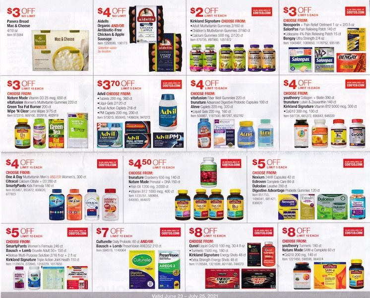 Costco ad with vitamins and more